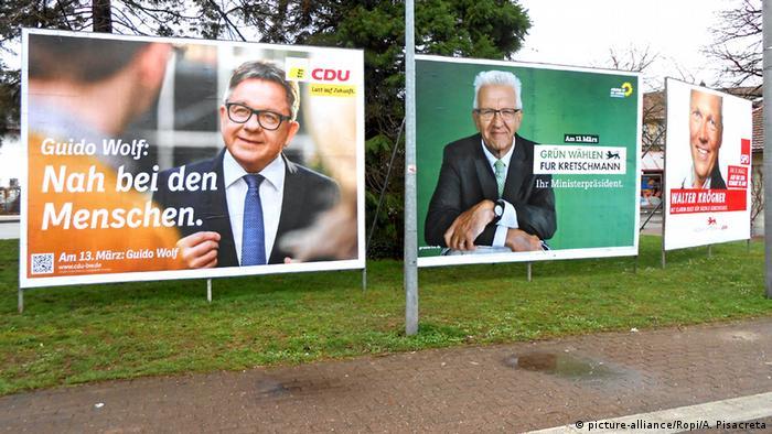 Предвыборные плакаты зеленых и ХДС