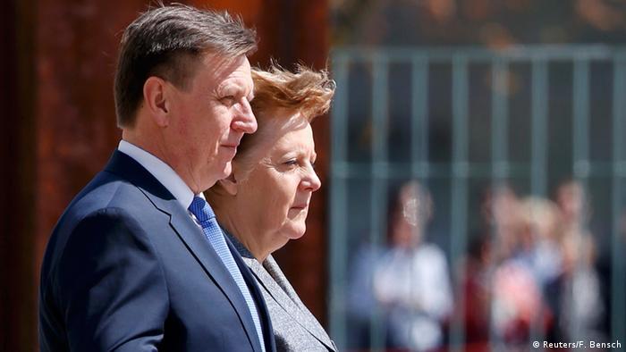Deutschland Premierminister Lettland Maris Kucinskis & Angela Merkel