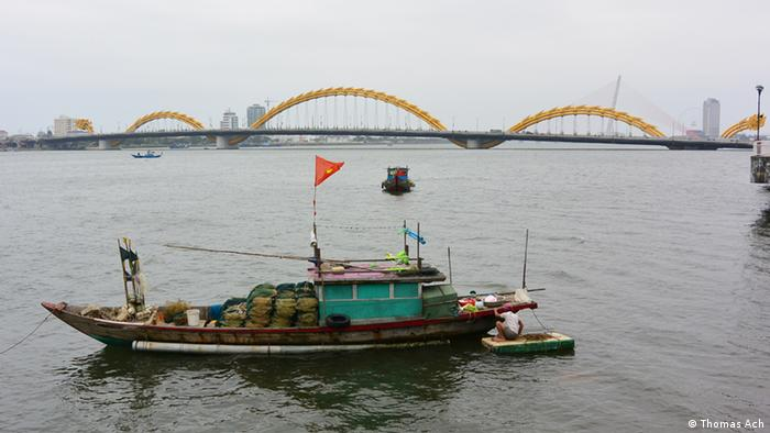 A boat on Han River, Vietnam