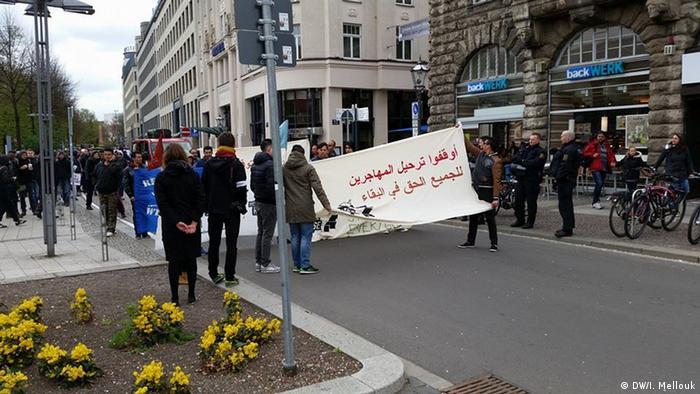 في مظاهرة في لايبزغ بألمانيا ضد ترحيل المهاجرين( أرشيف)