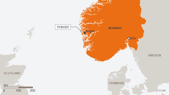 Norway map showing Bergen, Turoey