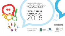 Logo Hinweis GMF16 World Press Freedom day Visual
