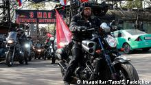 29.04.2016+++ MOSCOW, RUSSIA. APRIL 29, 2016. Nochnyye Volki Night Wolves bikers in Moscow s International Biker Centre before the start of an annual rally from Moscow to Berlin. The race celebrates the 71st anniversary of the Soviet Union s victory over Nazi Germany in the 1941-1945 Great Patriotic War. +++ (C) Imago/Itar-Tass/S. Fadeichev