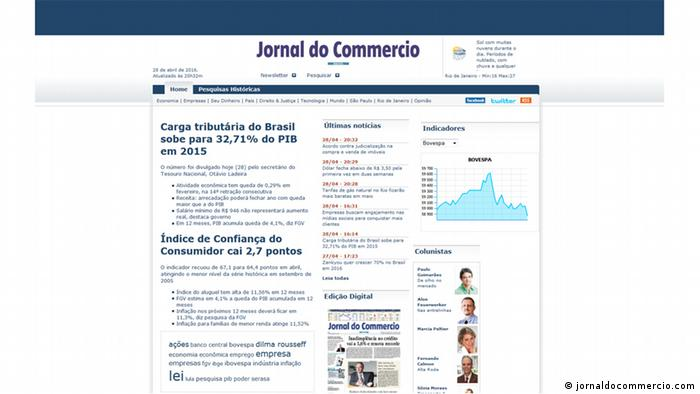 Screenshot Website Jornal do Commercio Zeitung