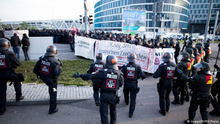 Protests outside the AfD conference center