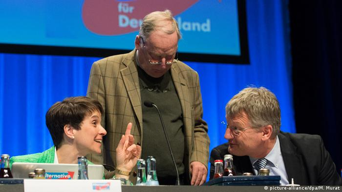 Afd leaders Frauke Petry, Alexander Gauland and Jörg Meuthen hold a private discussion