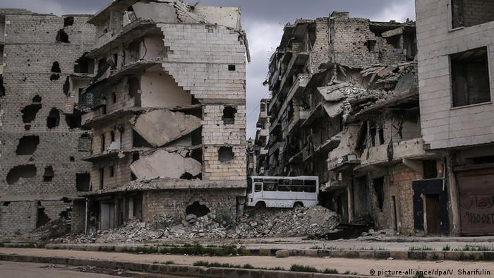 Damaged buildings after Aleppo airstrikes