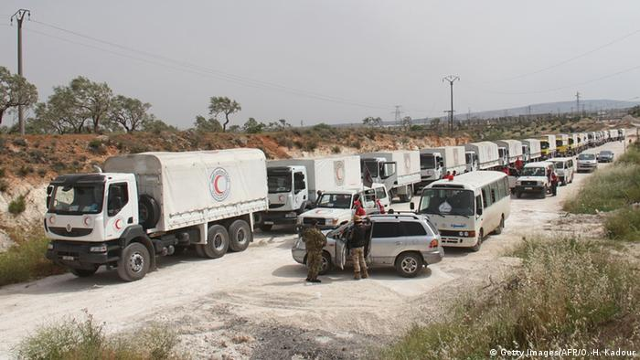 Convoy of aid vehicles, Syria © Getty Images/AFP/O.-H. Kadour