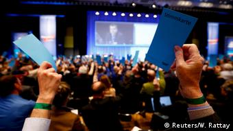 People voting at AfD conference