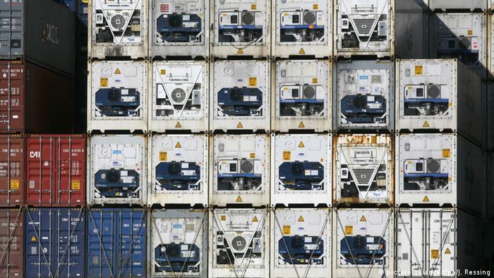 Gestapelte Kühlcontainer