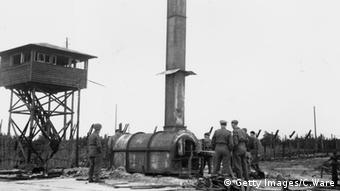Watchtower and creamatorium at Bergen-Belsen (Getty Images/C.Ware)