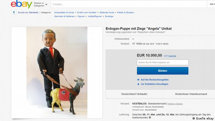 Satirical Erdogan doll up for auction on Ebay in ′solidarity