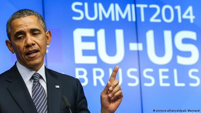 Barack Obama at European Council headquarters in Brussels (picture-alliance/dpa/J. Warnand)