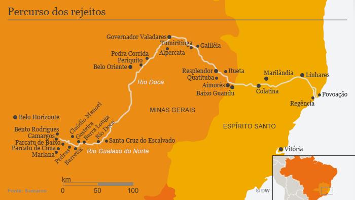 Mapa mostra a região afetada pela enxurrada de lama da barragem da Samarco. Desastre que começou em Bento Rodrigues segue até a costa do Espírito Santo