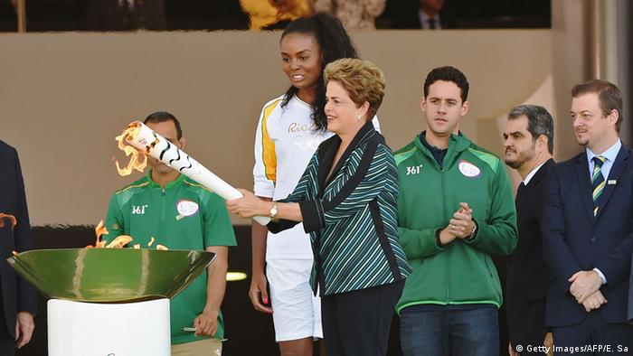 Dilma Rousseff ignites the Olympic torch
