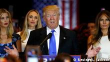 03.05.2016 Republican U.S. presidential candidate Donald Trump speaks as he stands with (L-R) his son Eric, his daughter Ivanka, Eric Trump's wife Lara Yunaska and his wife Melania (R), during a campaign victory party after rival candidate Senator Ted Cruz dropped out of the race for the Republican presidential nomination, at Trump Tower in Manhattan, New York, U.S., May 3, 2016. REUTERS/Lucas Jackson Copyright: Reuters/L. Jackson