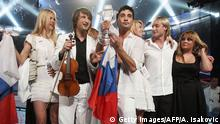 Dima Bilan of Russia celebrates after winning the Eurovision Song Contest 2008 at Belgrade Arena early on May 25, 2008. Bilan won the 53rd Eurovision song contest in Belgrade, with his song 'Believe' coming out well ahead of entrants from Ukraine and Greece. +++ (C) Getty Images/AFP/A. Isakovic