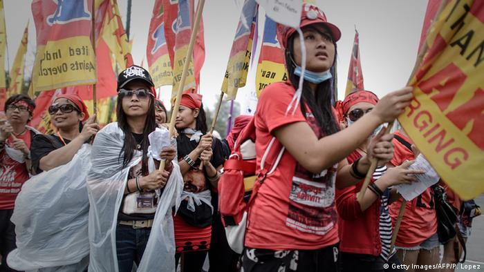 Hongkong Arbeiter aus Indonesien Protest (Getty Images/AFP/P. Lopez)