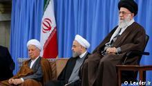 Khamenei Rohani Rafsanjani Iran Ayatollah Ali Khamenei, Führer der Islamischen Republik Iran neben Hassan Rohani und Akbar Hashemi Rafsanjani Quellen: Leader.ir