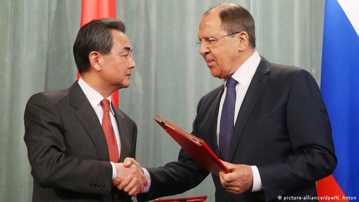 Russia foreign minister Lavrov and Chinese foreign minister Wang