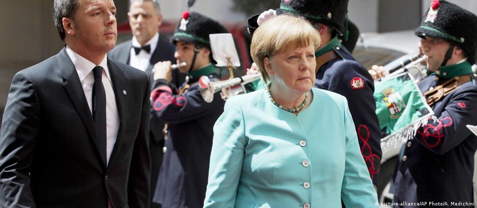 Angela Merkel e Matteo Renzi após reunião em Roma