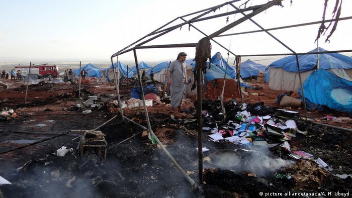Последствия авианалета на лагерь без Сармады