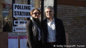 Sadiq Khan and his wife Saadiya outside a polling station (photo: Mary Turner/Getty Images)