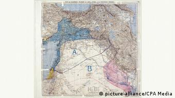 نقشه تاریخی سایکس پیکو در سال ۱۹۱۶