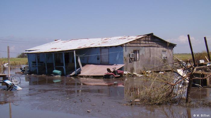 Wohnhaus auf der Isle de Jean Charles nach dem Hurrikan Gustav im Jahr 2008