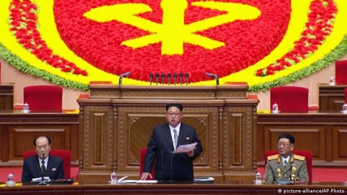 North Korean leader Kim Jong Un addresses the congress in Pyongyang, North Korea