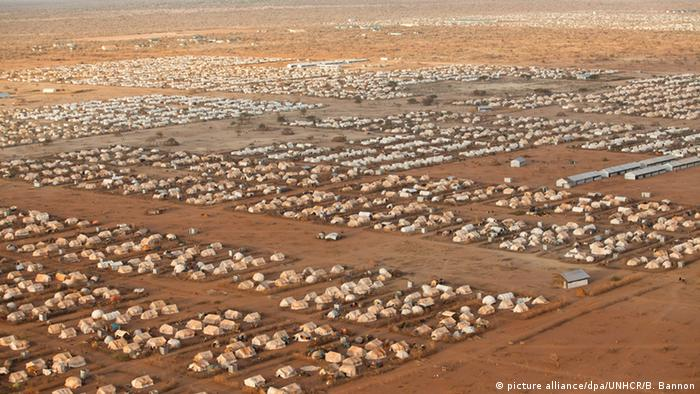 An aerial view of the Dadaab refugee camp on what looks like never-ending desert.