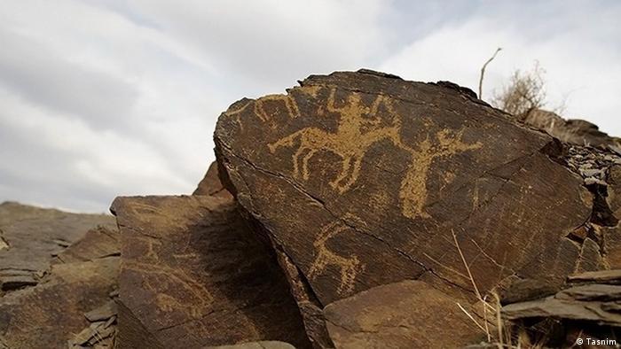 Teymareh Petrogylphen Khomein Iran prähistorische Kunst Steinmalerei