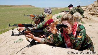 Kurdish fighters near Mosul in Iraq