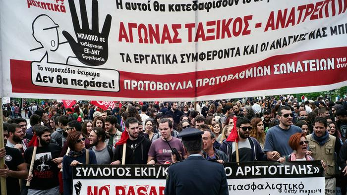Athen Generalstreik Demonstration Rentenreform