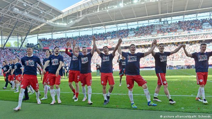 Celebración del ascenso del Red Bull Leipzig en la temporada 2015/16.