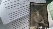 Deutscher Bescheid über die Auszahlung von Entschädigung für Kriegsgefangenen Petr Dorofeev