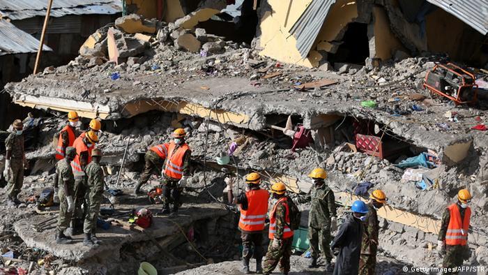 Kenia Einsturz Gebäudekomplex nach schweren Regenfällen Copyright: Getty Images/AFP/STR