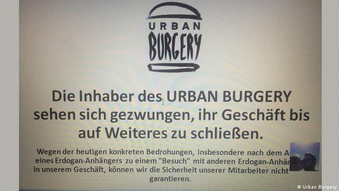 Urban Burgery closure notice