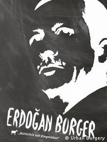 Schwarz-weißes Konterfei Erdogan: Erdogan Burger - Natürlich mit Ziegenkäse (Foto: Urban Burgery)