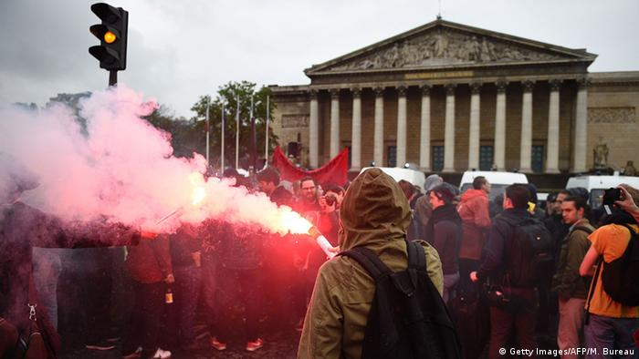 Protests in Paris in front of the National Assembly