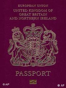 Undated handout photo issued by Britain's Home Office, Monday March 6, 2006, of the front cover of the new British biometric e-passport, (AP Photo/British Home Office/ho)