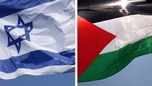 Bildkombo Flaggen Israel Palästina