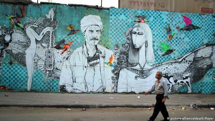 Streetart in Kairo zeigt den Kampf des arabischen Frühlings in Ägypten.