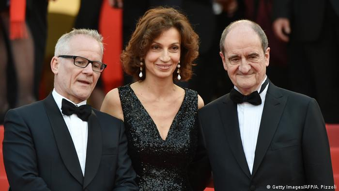 Filmfestival Cannes Eröffnung Azoulay, Lescure und Fremaux (Getty Images/AFP/A. Pizzoli)