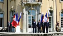 11.06.2016 *** (L-R) Russian Foreign Minister Sergey Lavrov, Ukrainian Foreign Minister Pavlo Klimkin, French Foreign Minister Jean-Marc Ayrault and German Foreign Minister Frank-Walter Steinmeier pose for a family picture prior to talks at the Villa Borsig guest house of the German Foreign Ministry in Berlin on May 11, 2016. The foreign ministers met to discuss the Ukraine conflict. / AFP / TOBIAS SCHWARZ (Photo credit should read TOBIAS SCHWARZ/AFP/Getty Images) Copyright: Getty Images/AFP/T. Schwarz