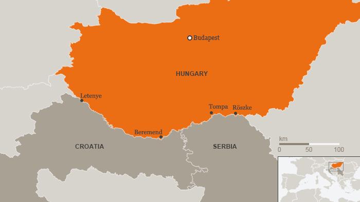 Karte Ungarn Grenzstädte Kroatien Serbien Englisch