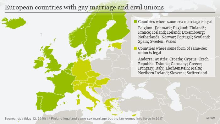 Infografik Gleichgeschlechtliche Ehe und Partnerschaft Europa Englisch
