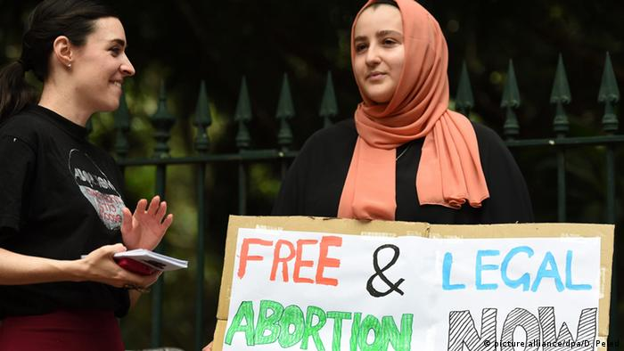 Abortion pro-choice supporters rally outside the Queensland Parliament in Brisbane, Australia