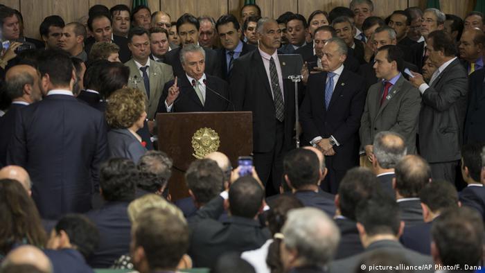 Brasilien Interimspräsident Michel Temer Rede im Planalto Palast