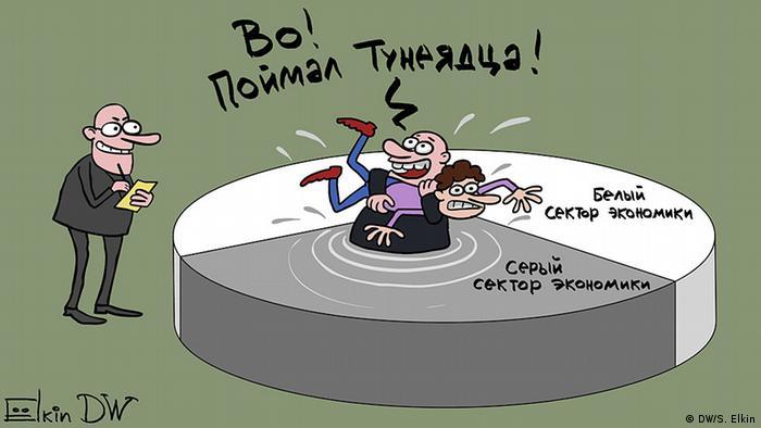 Карикатура Сергея Ёлкина на тему борьбы с тунеядством в Беларуси